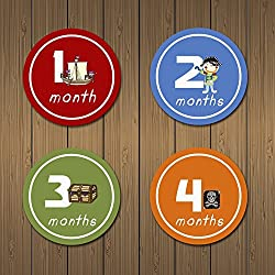 MyLilSprouts Pirates Treasure Monthly Baby Boy Newborn MileStone Round Easy Peel Stickers 1 - 12 Months Set - Baby Shower Gift - (Style 7)