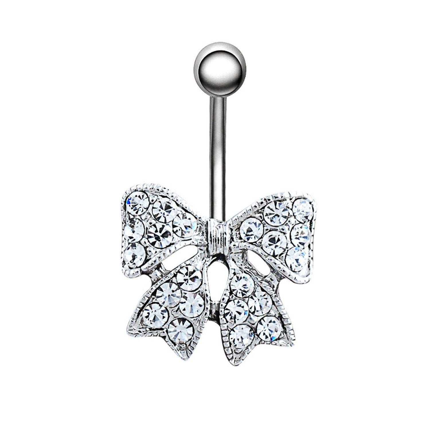 ihuoshang Butterfly Shape Crystal Bow Tie Womens Belly Button Rings Piercing Navel Barbell Body Piercing Jewelry
