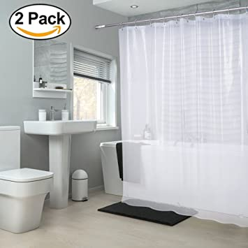 AMAZER PEVA 4G Shower Curtain Liner (Pack of 2) with 12 Rustproof Grommets 3 Heavy Duty Clear Stones, 72 x 72 Mildew Resistant Waterproof Odorless Bathroom Shower Curtains, Cloudy Clear