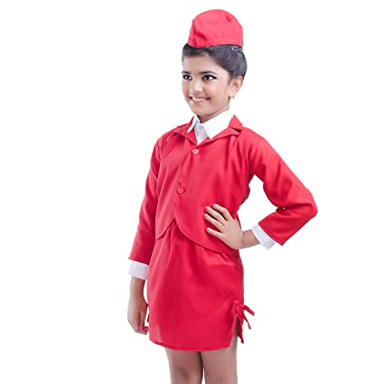 59e7fb47ad6 Buy FancyDressWale Kid's Airhostess Dress (Red, 3-5 Years) Online at ...