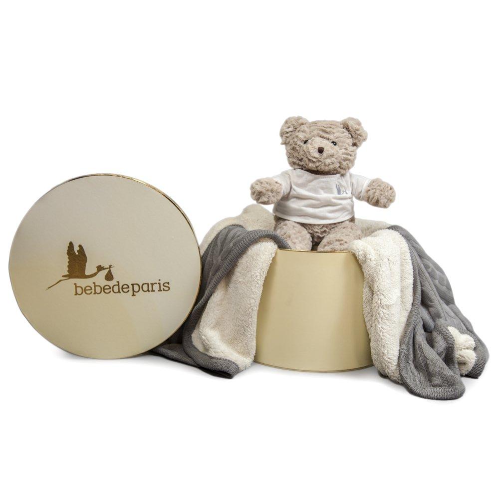 Baby Decke Deluxe - Geschenk Set - grau-bebedeparis- Größe: 130 x 150 cm-perfect Baby Geschenk und als Baby Dusche