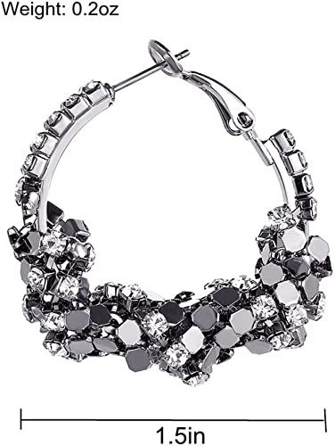 1/% HundredthZ Black Silver Plated Cubic Zirconia Twisted Round Hoop Earrings for Girls