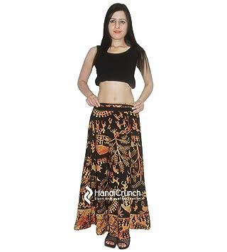 Falda larga de algodón Boho Rapron Floral, falda étnica Tribal ...