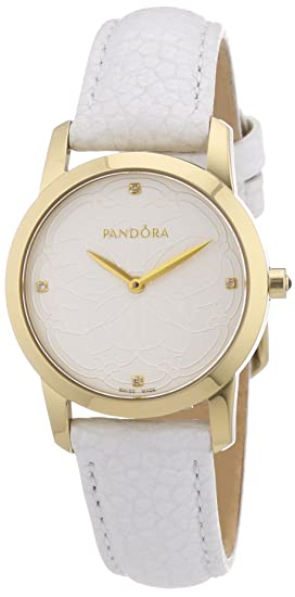 Pandora 812038LS - Reloj analógico de mujer de cuarzo con correa de piel blanca: Amazon.es: Relojes