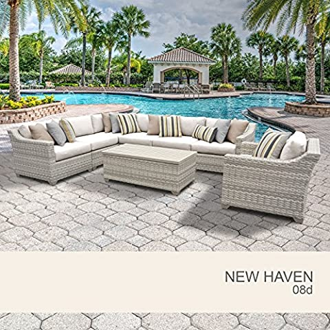 New Haven 8 Piece Outdoor Wicker Patio Furniture Set 08d - Classic Spring Club Chair Frame