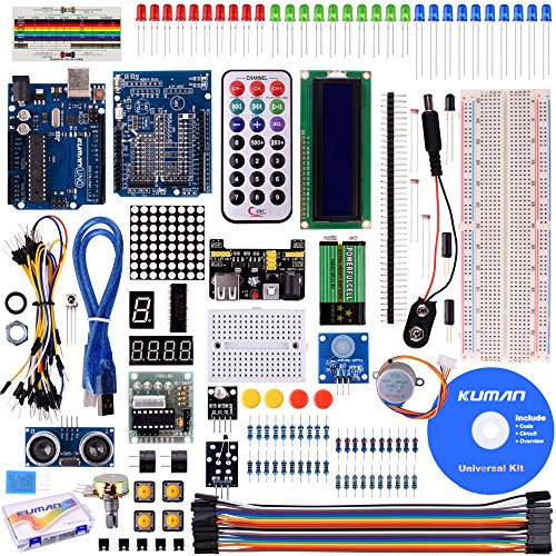 kuman for Arduino Project Complete Starter Kit with Detailed Tutorial and Reliable Components for UNO R3 Mega 2560 Robot Nano breadboard Kits (Remote Starter Yourself)
