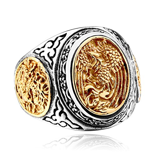 (LILILEO Jewelry Titanium Steel Retro Chinese Style Dragon And Phoenix Ring For Unisex Rings)