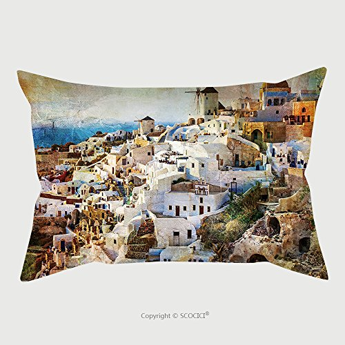 Custom Microfiber Pillowcase Protector Sunset In Santorini Artwork In Painting Style 234025504 Pillow Case Covers Decorative