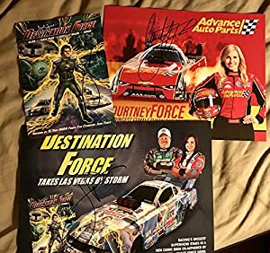 2 John Force Destination Force + Courtney Force Hero Card Autograph Signed NHRA - Autographed NASCAR Cards from Sports Memorabilia