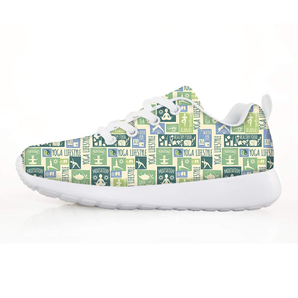 Owaheson Boys Girls Casual Lace-up Sneakers Running Shoes Yoga Life Style