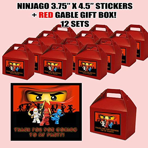 Ninjago Party Favor Boxes with Thank you Decals Stickers Loots Red Birthday Shower 12 PIECES GREAT SELLER]()