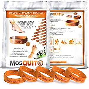 MosQuitO Repellent Bracelets 10 Pack - All-Natural, Non-Toxic, DEET-Free - 100% Pure Essential Oil - Ideal Outdoor Companion for Kids, Adults