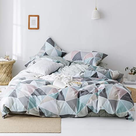 mixinni Luxury 3 Pieces Duvet Cover Sets King Size Geometric Checkered Reversible Striped Pattern Bedding Cover for Men Women Soft Cotton Grey Beige Plaid Bedding Set with Zipper Ties