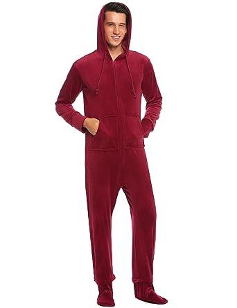 d90c529c58 Ekouaer Mens Coral Fleece Onesie Long Sleeve Hooded Footed Jumpsuit Pajamas  One Piece