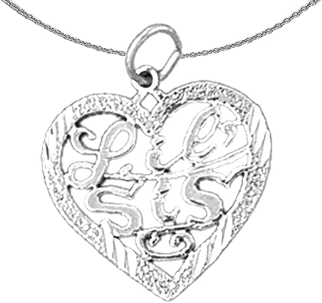 Jewels Obsession Silver Lil Sis Necklace Rhodium-plated 925 Silver Lil Sis Pendant with 18 Necklace