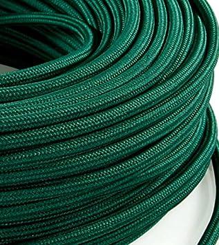 abat-jours avec rev/êtement color/é lampes design section de 2 x 0,75 MeToo Design H03VVF style vintage Fil /électrique rond en tissu Vert p/étrole Produit fabriqu/é en Italie. pour lampadaires