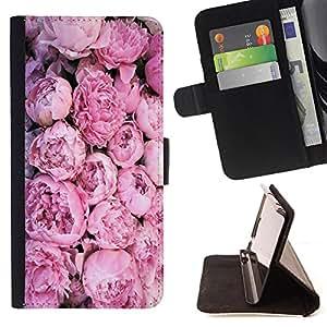 - Rose Pink Flower Romantic Love Heart - - Monedero PU titular de la tarjeta de cr?dito de cuero cubierta de la caja de la bolsa FOR Samsung Galaxy Core Prime Retro Candy