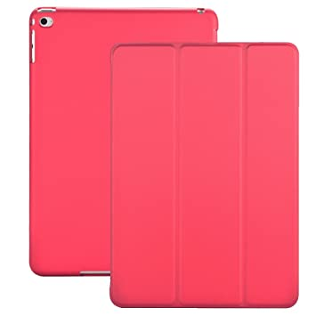 KHOMO Funda iPad Air 2 - Carcasa Rosa Oscura Ultra Delgada y Ligéra con Smart Cover para Apple iPad Air 2 - Dark Pink