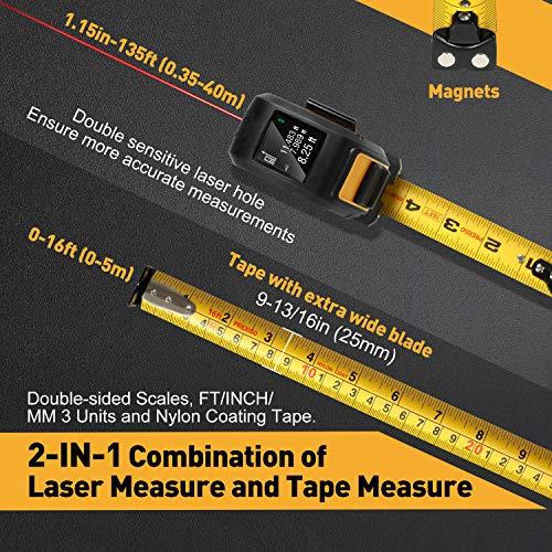 Cinta métrica láser PREXISO, cinta métrica láser 2 en 1 de 135 pies y cinta métrica de 16 pies, medida de distancia láser recargable con pantalla a color, modos de medición múltiple, cinta de revestimiento de nailon con gancho magnético