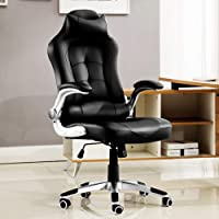 JL Comfurni Home Office Chair Chesterfield Ergonomic Swivel Office Chair High Back Heavy Duty Computer Desk Chair Faux…