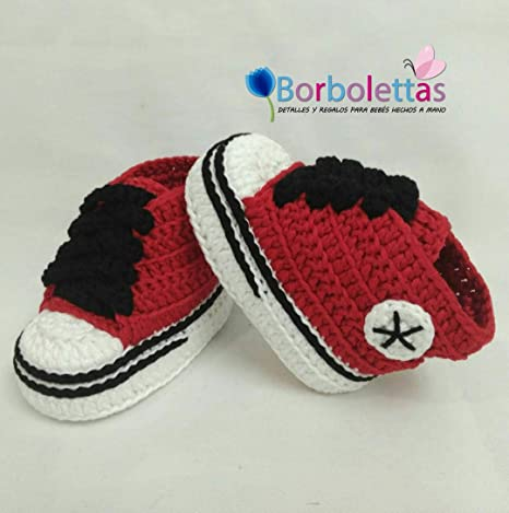 45975e5838228 Baskets pour bébé Style Converse, rouge et noir, 0 - 3 mois  Amazon ...