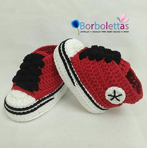 Patucos para Bebé Recién Nacido tipo Converse, 0-3 meses Rojo-Negro ...