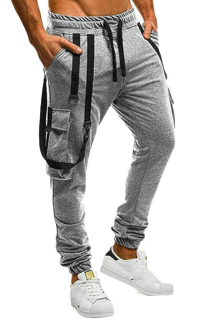 Lutratocro Mens Elastic Waist Cargo Drawstring Jogging Athletic Trousers Pants