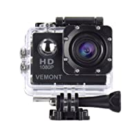 Vemont Full HD 2.0 Inch Action Camera 1080P 12MP Sports Camera Action Cam Underwater 30m/98ft Waterproof Camera and Mounting Accessories Kit for Diving/Bicycle/Climbing/Swimming etc (Black)