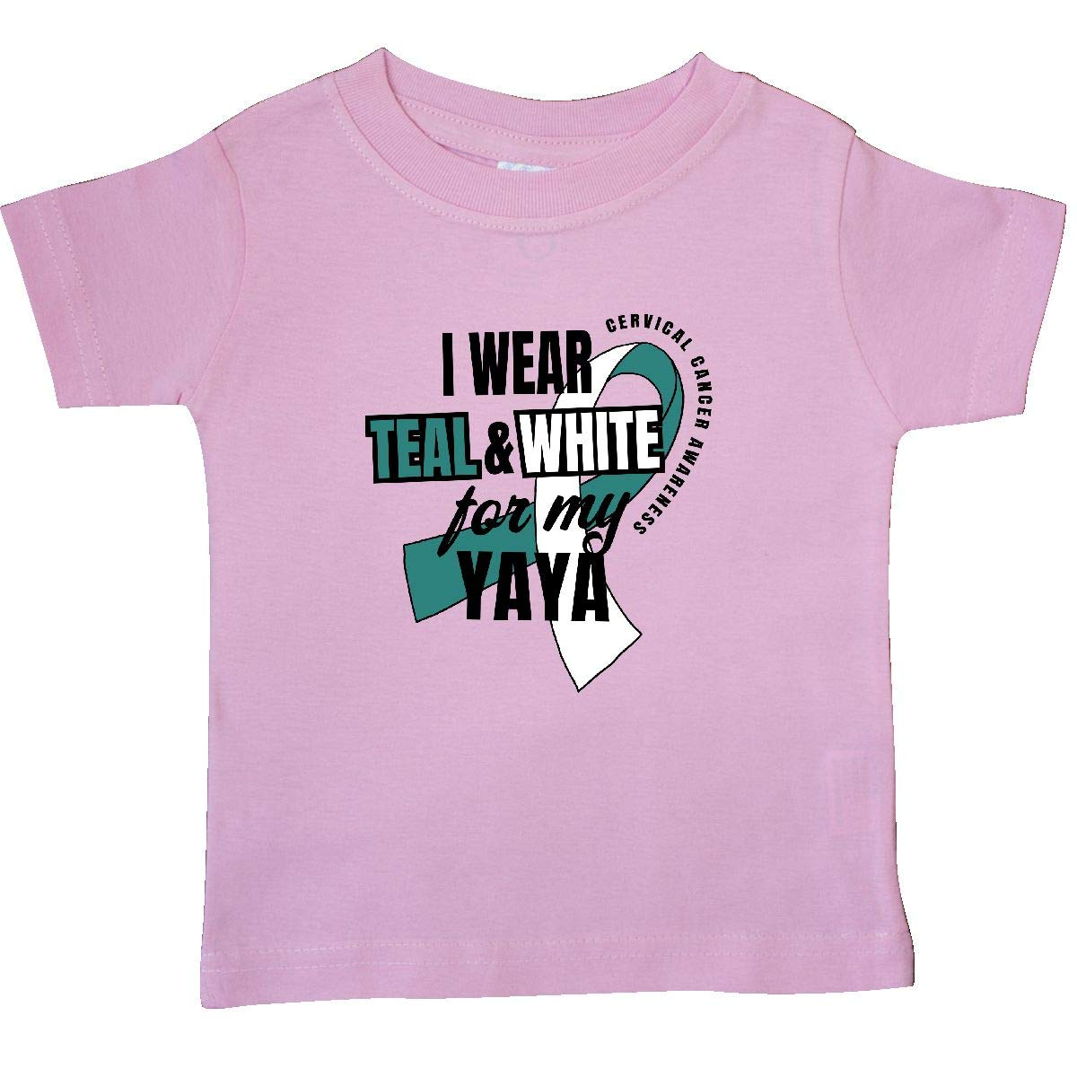 inktastic I Wear Teal and White for My Yaya Cervical Cancer Baby T-Shirt