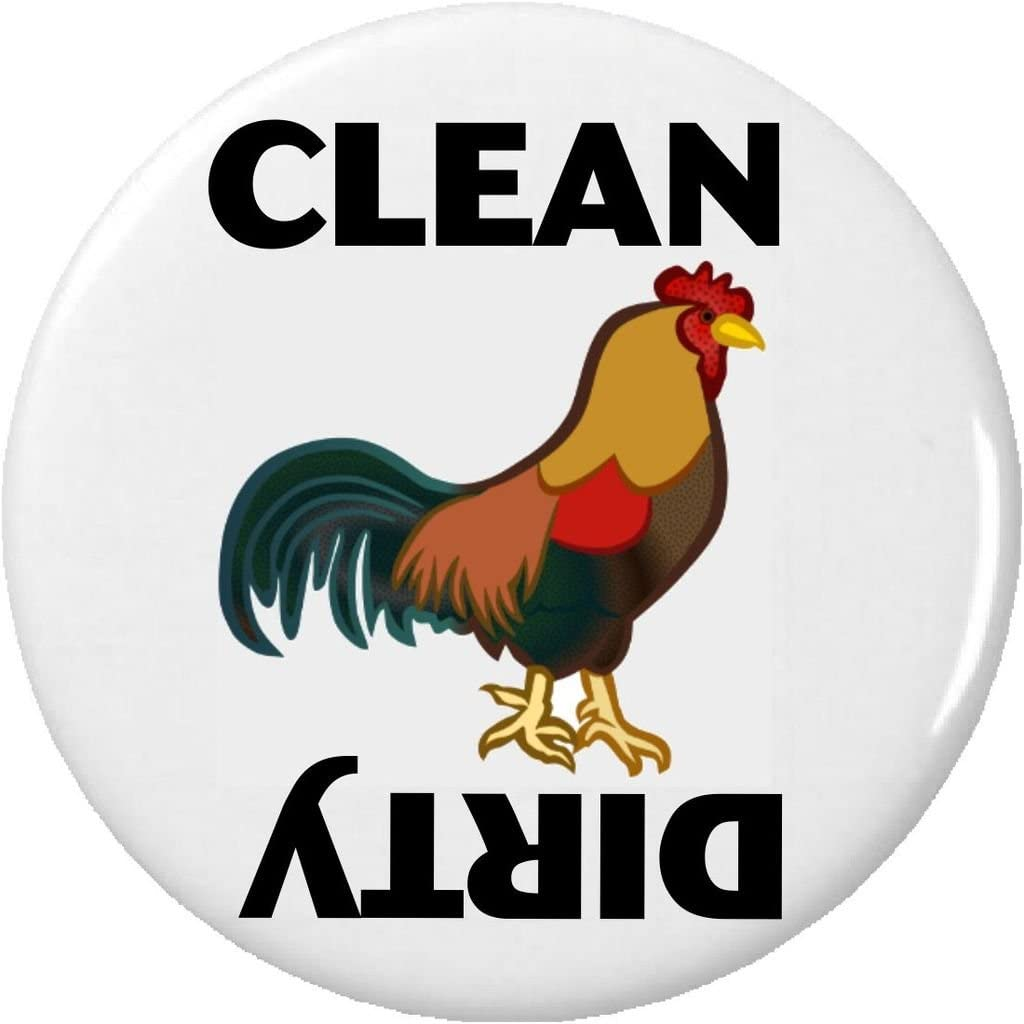 "Clean / Dirty (Rooster Chicken) 2.25"" Magnet Dishes Dishwasher Kitchen"