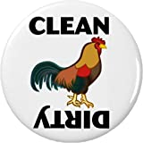 """Clean / Dirty (Rooster Chicken) 2.25"""" Magnet Dishes Dishwasher Kitchen"""
