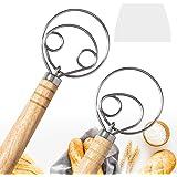 "2 Pack Danish Dough Whisk Mixer Blender, DEMALO 13.5"" Wooden Handle Bread Dough Hand Mixer for Baking, Kitchen Baking Tool Mi"