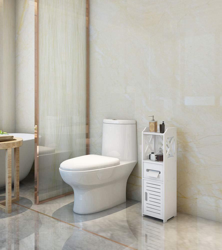 Bathroom Cabinet, Hiseea Waterproof Single Door 2 Tiers Bathroom Furniture for Living Room Bedroom, Kitchen Hallway, Bathroom Toilet, 80 x 20 x 23cm, White