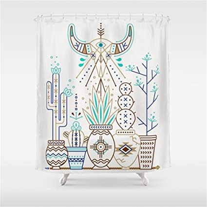 Huisfa Santa Fe Garden Turquoise Brown Shower Curtain 72 X Inches