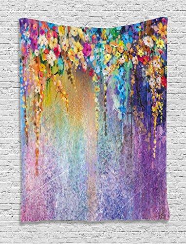 Ambesonne Flower Tapestry, Abstract Herbs Weeds Alternative Medicine Blossoms Ivy Back Florets Shrubs Design, Wall Hanging for Bedroom Living Room Dorm, 60