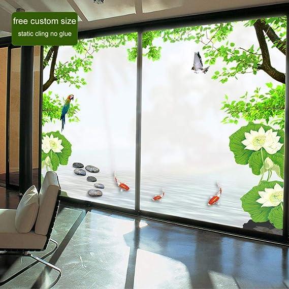 Tamaño Personalizado Película Decorativa para Ventanas de Colores Sin Pegamento Privacidad Pegatinas de Vidrio Esmerilado Decoración para El Hogar PVC Puerta Corredera Baño Kk81 Ancho80 Largo120 cm: Amazon.es: Hogar