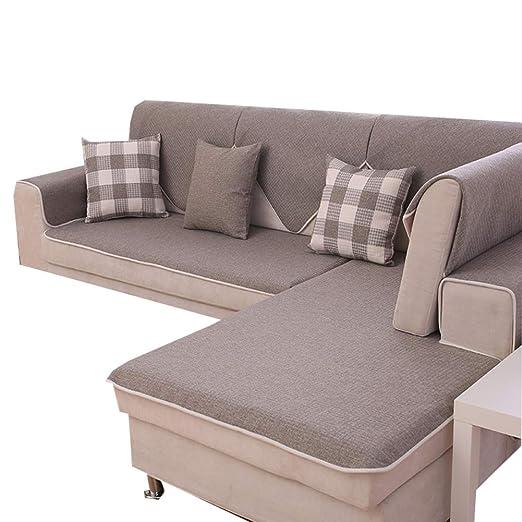 GWW Lino,Color sólido Slipcover del sofá Antideslizante ...