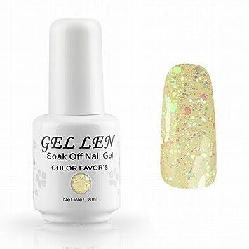 Pastel Yellow Glitters Uv Led Soak Off Gel Nail Polish Gellen Long Lasting Gel Varnish Keep 14 Days More On Nails 24 Hour Customer Support 30 Day