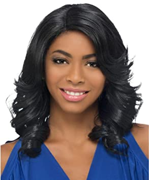 Peluca ondulada ondulada negra de mirada larga natural para las mujeres africanas Separación lateral fibra sintética