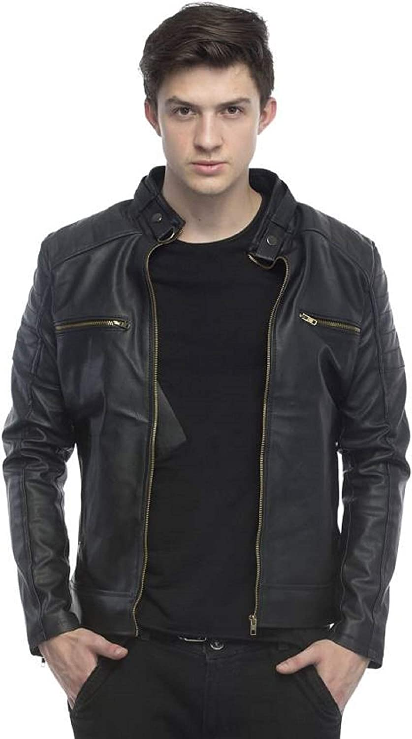 Designer Faux Leather Biker Jacket for Man