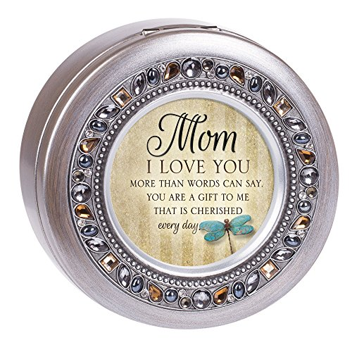 Music Pewter - Cottage Garden Mom Love You More Everyday Jeweled Pewter Colored Round Music Box Plays What a Wonderful World