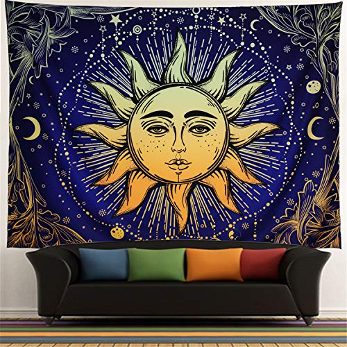 Racunbula Tapestry Psychedelic Burning Sun Wall Tapestry Sun and Moon Wall Hanging Tapestry Bohemian Mandala Tapestry Fractal Faces Mystic Tapestry Beauty Starry Tapestry for Bedroom Living Room -