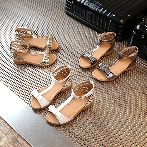 Scothen Niñas zapatos de la princesa huecos decorativos zapatos estudiantes boda sandalia de cuero zapatos de baile de la mariposa niños bucle partido relucientes ventas cargadores del tobillo A