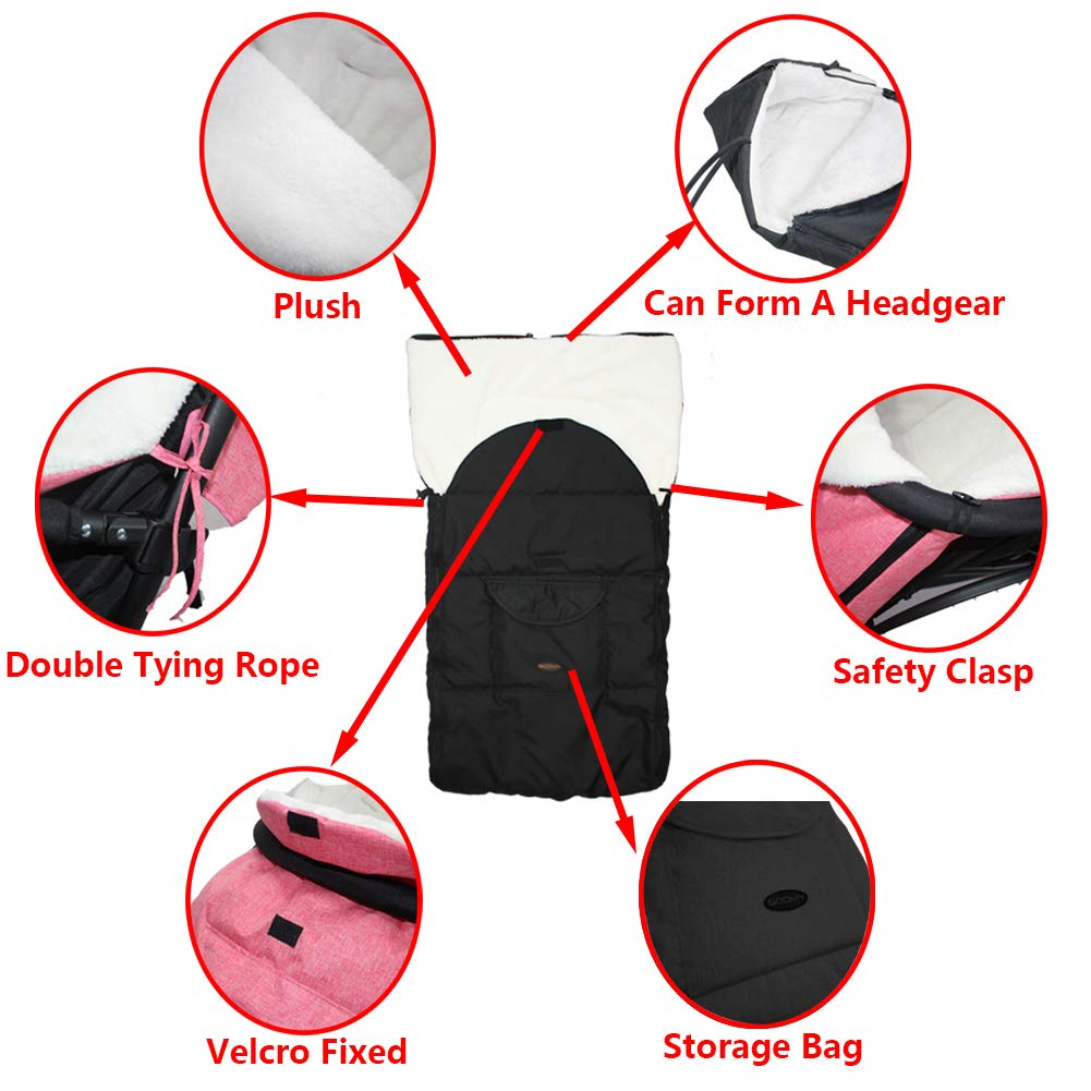 Soft Velvet Two-Way Zipper Detachable The Baby is Protected from Cold Weather COSVER-Baby Stroller Sleeping Bag Baby Foot Cover Antifreeze and Windproof Winter Outdoor Toddler Foot Pad Stroller