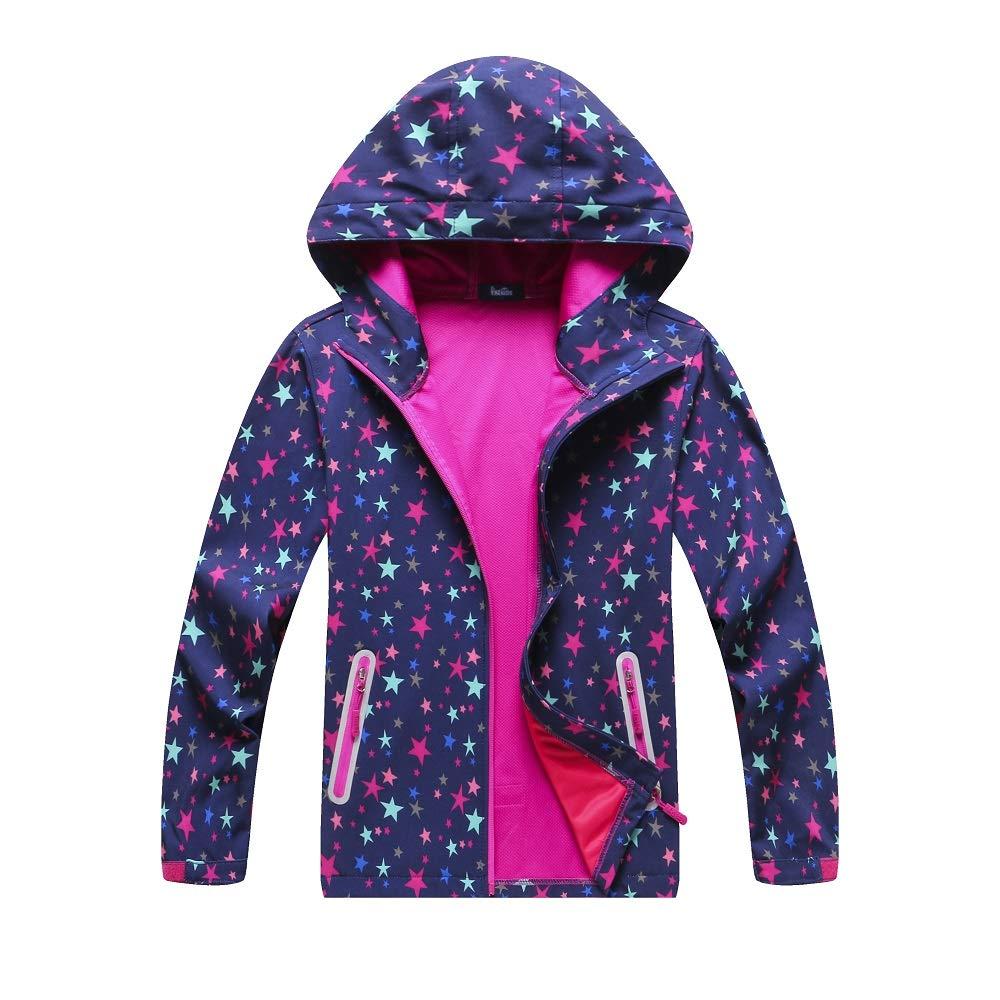 Mobycare Girls Boys Softshell Rain Jacket Cotton Blended Waterproof Light Windbreaker