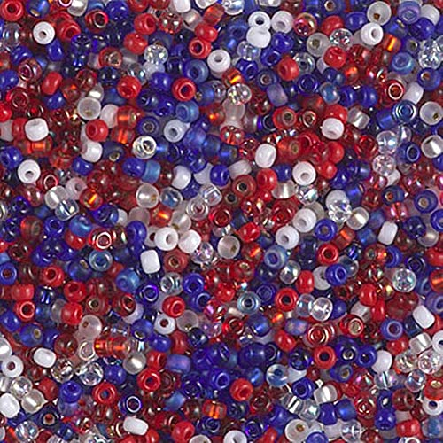 Spk Jewelry 1200 Pcs 11/0 Fourth of July Mix Miyuki Glass Round Seed Beads 10 Grams for Pendant Bracelet DIY Jewelry Making Kit