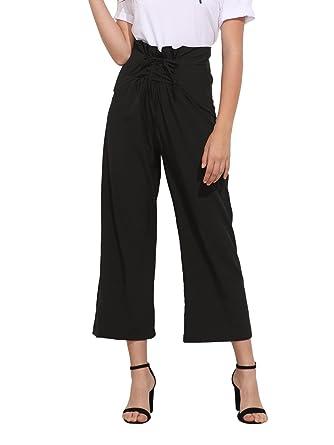 ROMWE Womens Comfy Lace Up High Waist Wide Leg Palazzo Pants Small Black