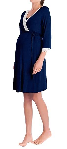 Batas Mujer Premama Camison Elegantes V Cuello Manga 3/4 Encaje Splicing Embarazo Albornoz Pijama Ropa De Dormir con Cinturón: Amazon.es: Ropa y accesorios