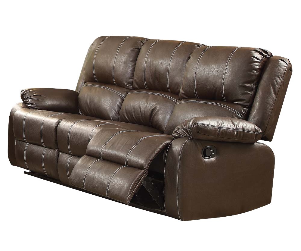 ACME Zuriel Brown Faux Leather Reclining Sofa