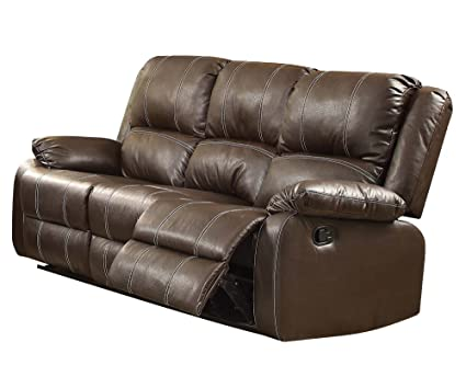 Amazon Com Acme Zuriel Brown Faux Leather Reclining Sofa Kitchen